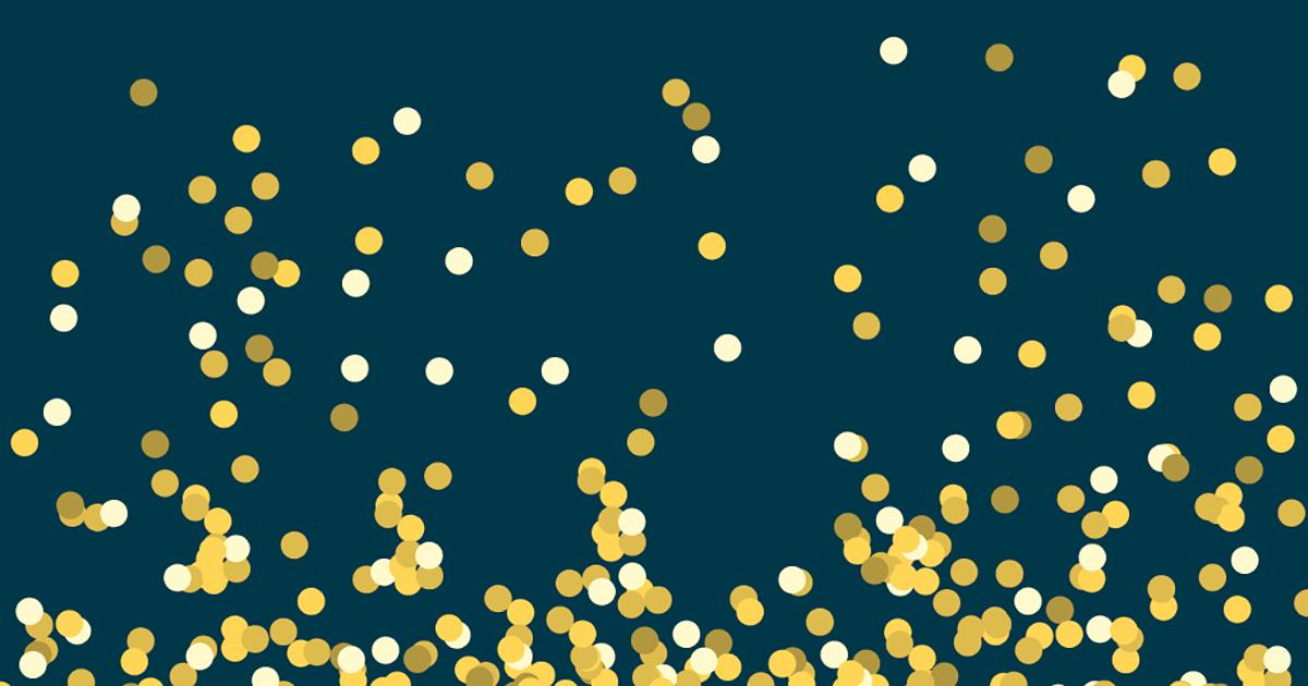 Gouden balletjes op een donkerblauwe achtergrond
